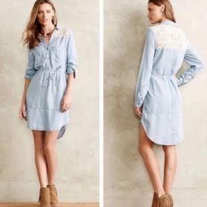 HOLDING HORSES Blue & White Lace T Shirt Dress